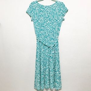 Leota Ilana Full Bloom Aqua Reversible Dress Sz XL